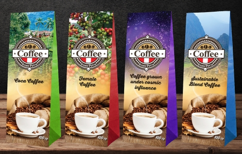 Design a series of packaging for coffee from Peru