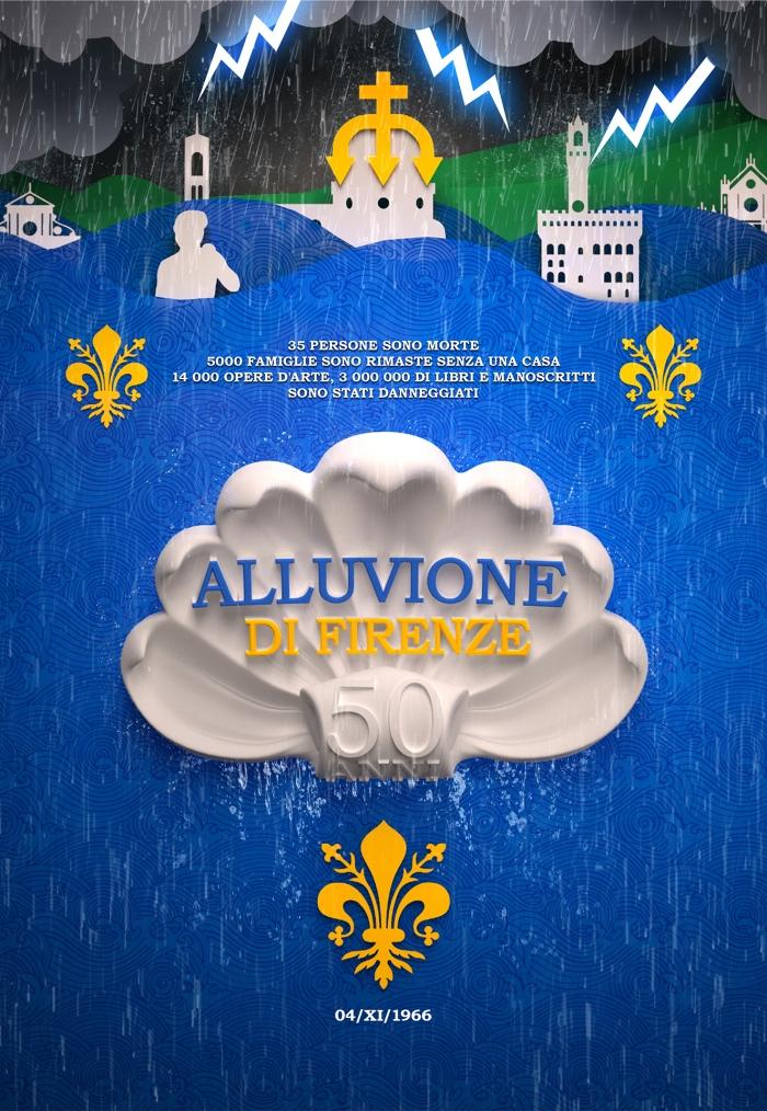 Дизайн социального плаката по поводу наводнения - Флоренция 50