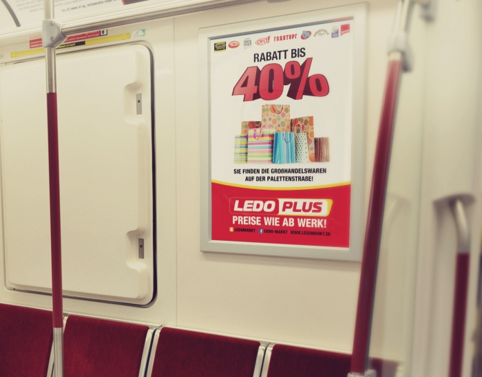 Outdoor advertising, in the subway, design of the advertising poster LEDO