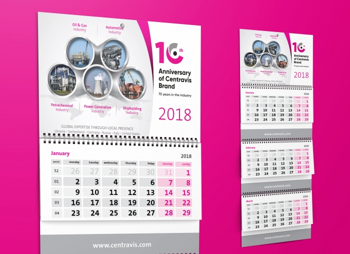 Design printed publications of calendars for company Centravis