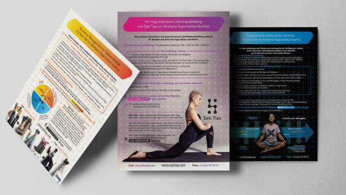 Design info flyers for Yoga Institute Austria