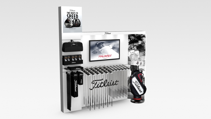 Create and 3D design of branded product stands for store St.Andrews